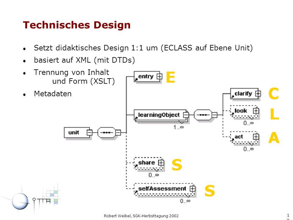 Technisches Design Setzt didaktisches Design 1:1 um (ECLASS auf Ebene Unit) basiert auf XML (mit DTDs)