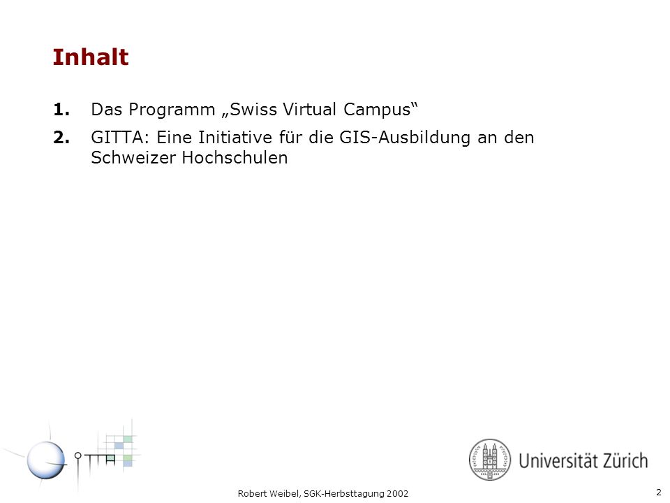 "Inhalt 1. Das Programm ""Swiss Virtual Campus"