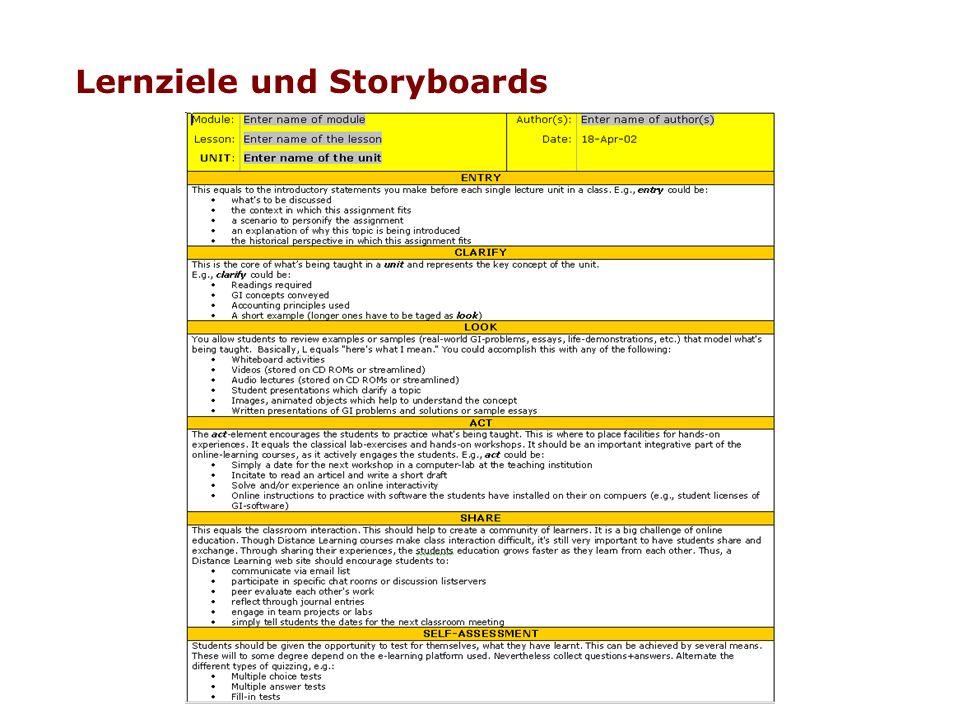 Lernziele und Storyboards