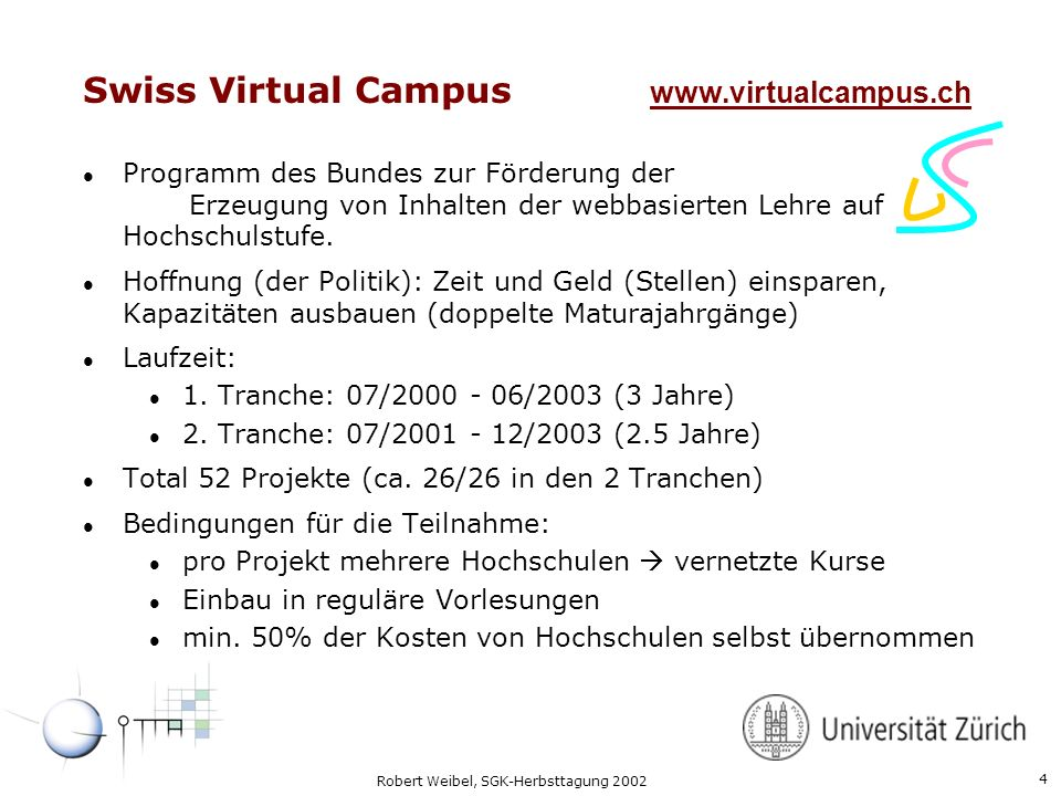Swiss Virtual Campus www.virtualcampus.ch