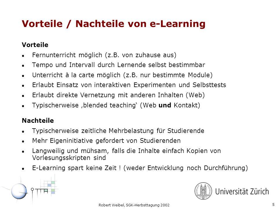 Vorteile / Nachteile von e-Learning