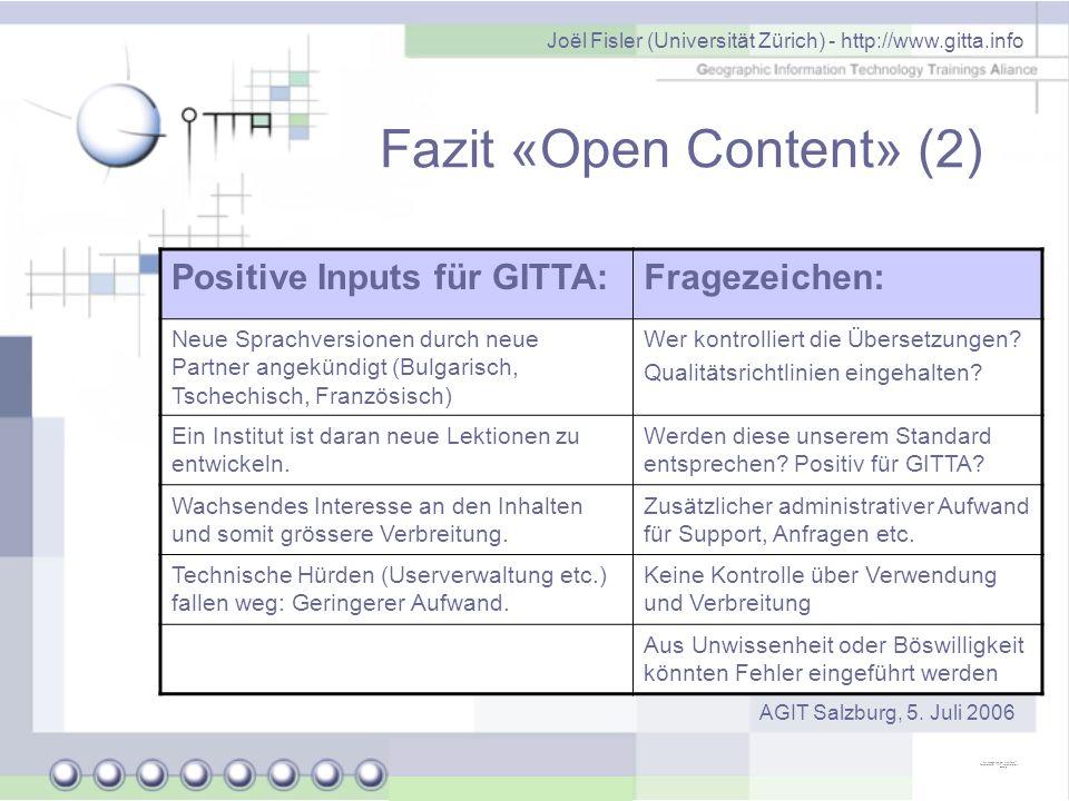 Fazit «Open Content» (2)