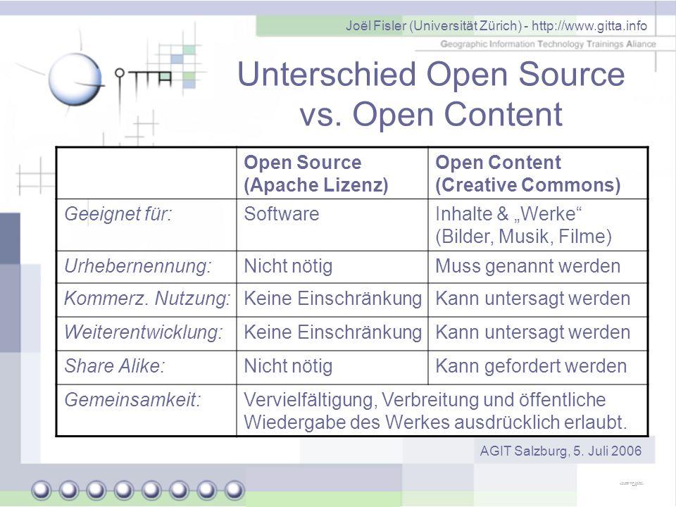 Unterschied Open Source vs. Open Content