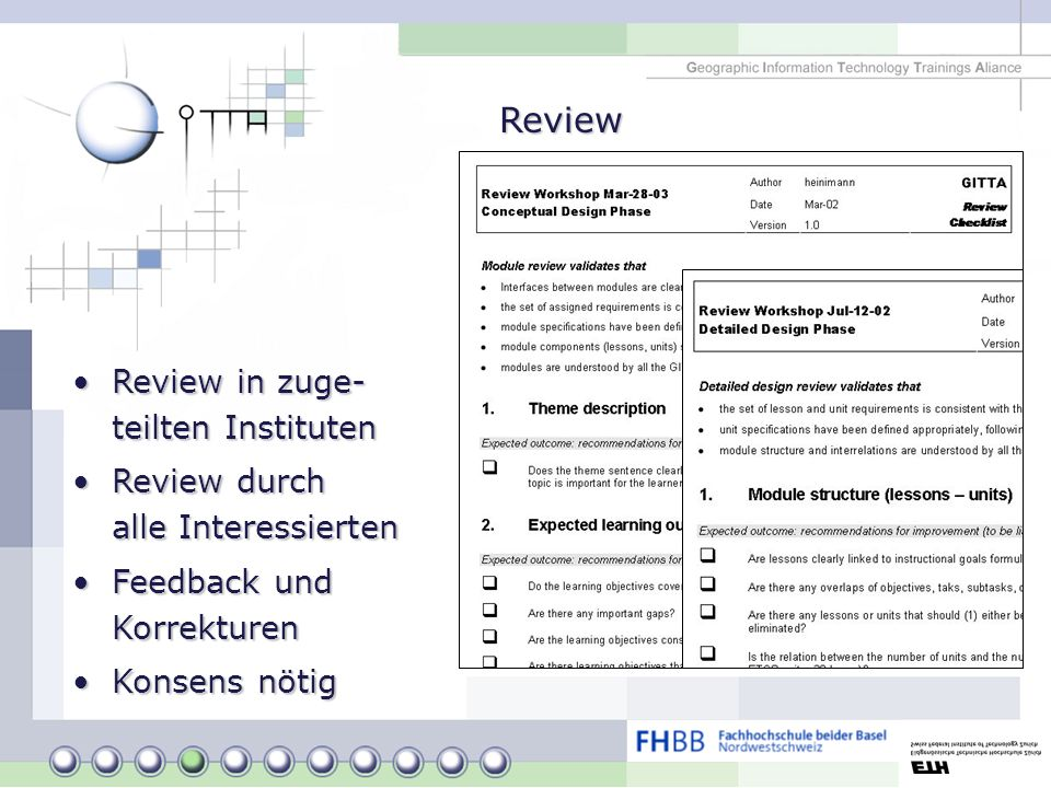 Review Review in zuge- teilten Instituten
