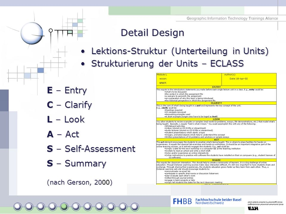 Detail Design Lektions-Struktur (Unterteilung in Units)