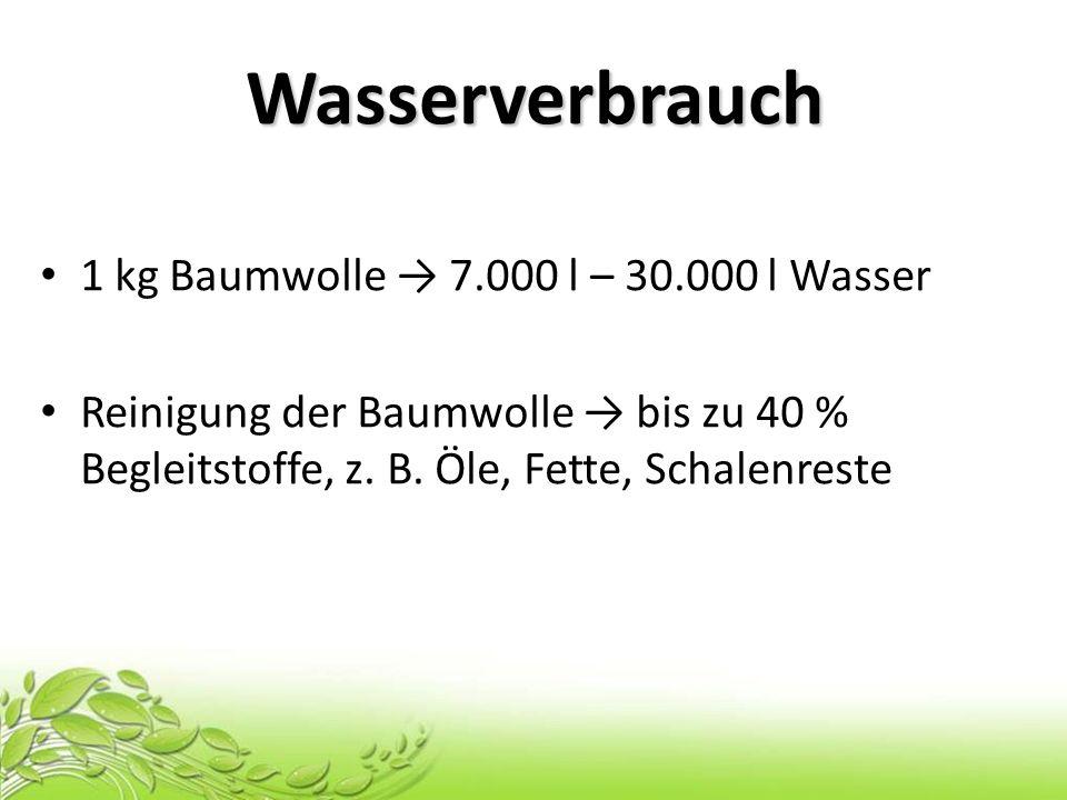Wasserverbrauch 1 kg Baumwolle → 7.000 l – 30.000 l Wasser