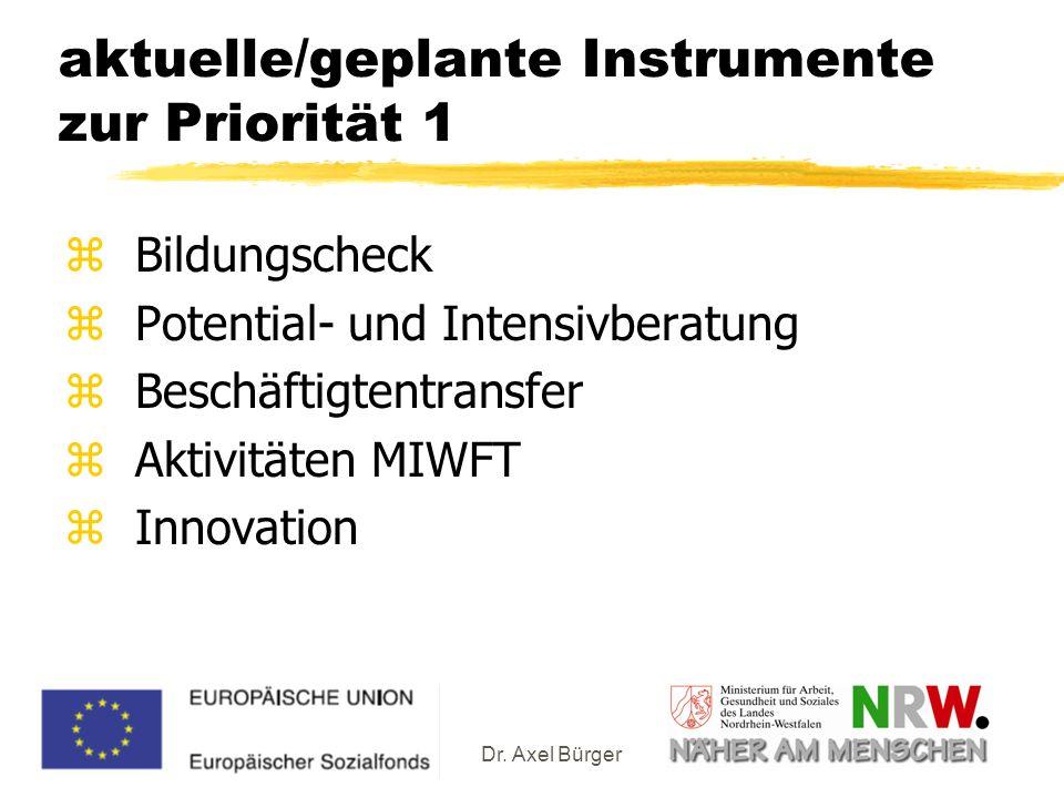 aktuelle/geplante Instrumente zur Priorität 1