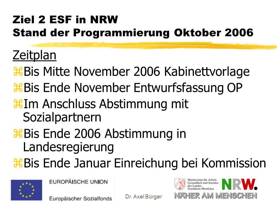 Ziel 2 ESF in NRW Stand der Programmierung Oktober 2006