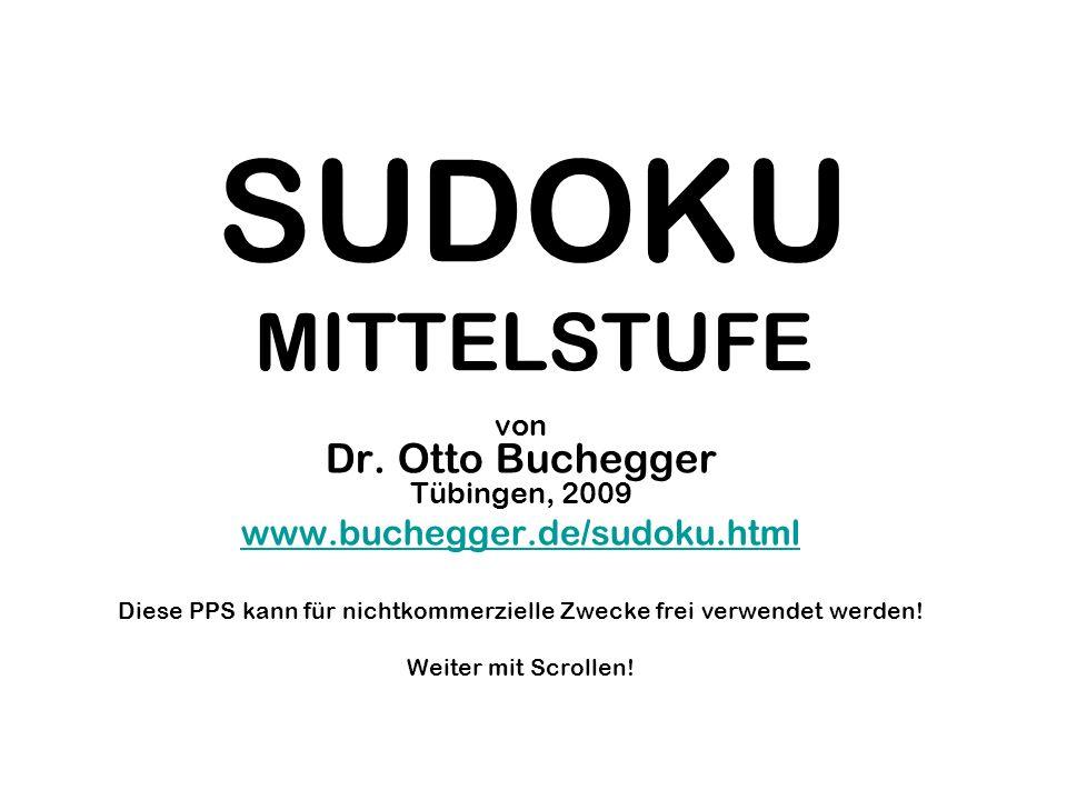 SUDOKU MITTELSTUFE www.buchegger.de/sudoku.html