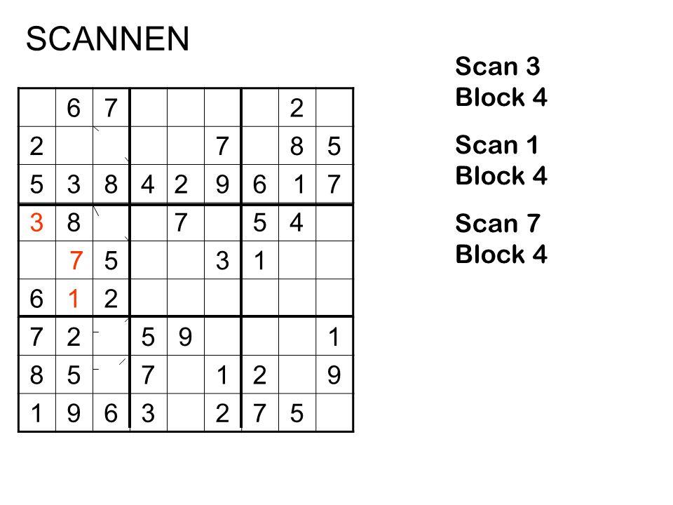 SCANNEN Scan 3 Block 4 Scan 1 Block 4 Scan 7 Block 4 6 7 2 8 5 3 4 9 1