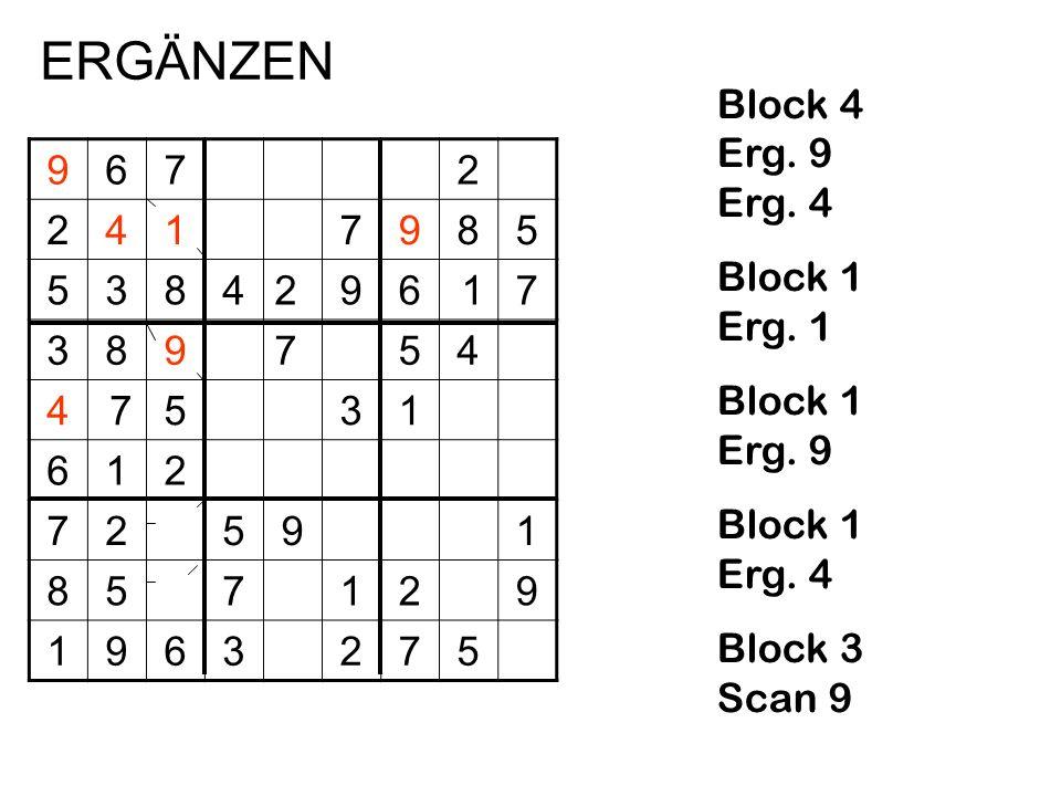 ERGÄNZEN Block 4 Erg. 9 Erg. 4 Block 1 Erg. 1 Block 1 Erg. 9