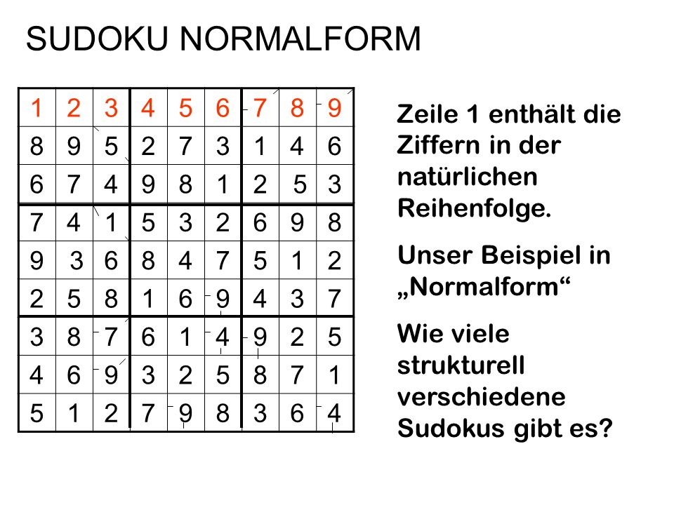 SUDOKU NORMALFORM 1. 2. 3. 4. 5. 6. 7. 8. 9. Zeile 1 enthält die Ziffern in der natürlichen Reihenfolge.