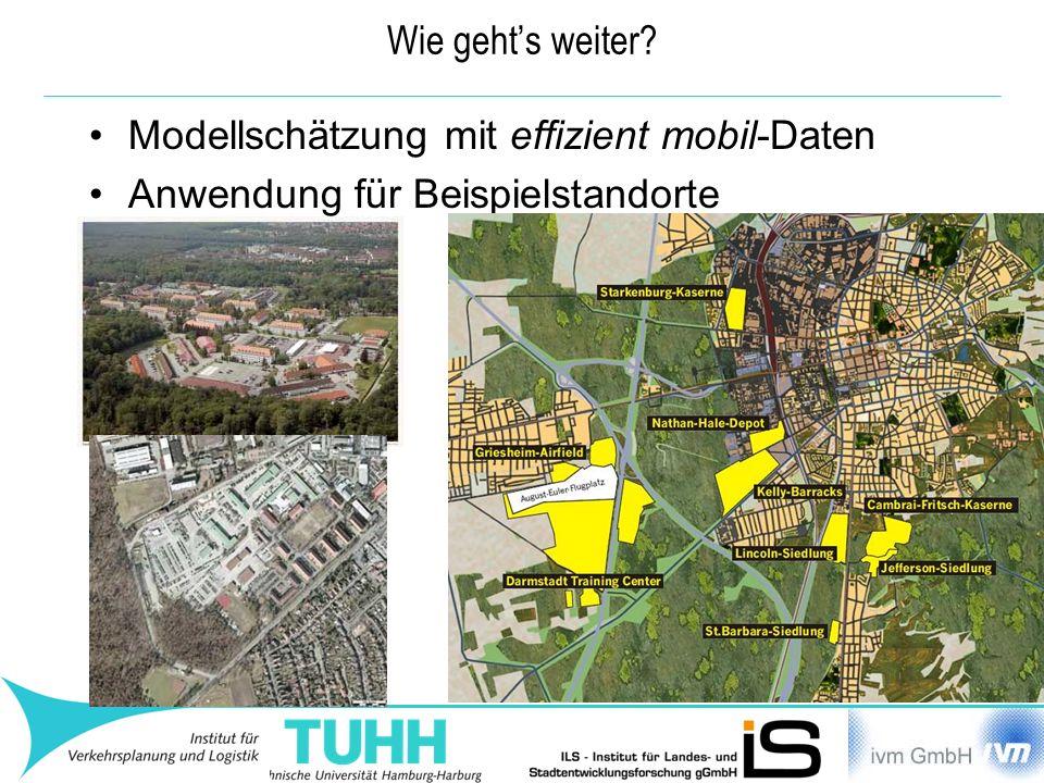 Wie geht's weiter Modellschätzung mit effizient mobil-Daten Anwendung für Beispielstandorte