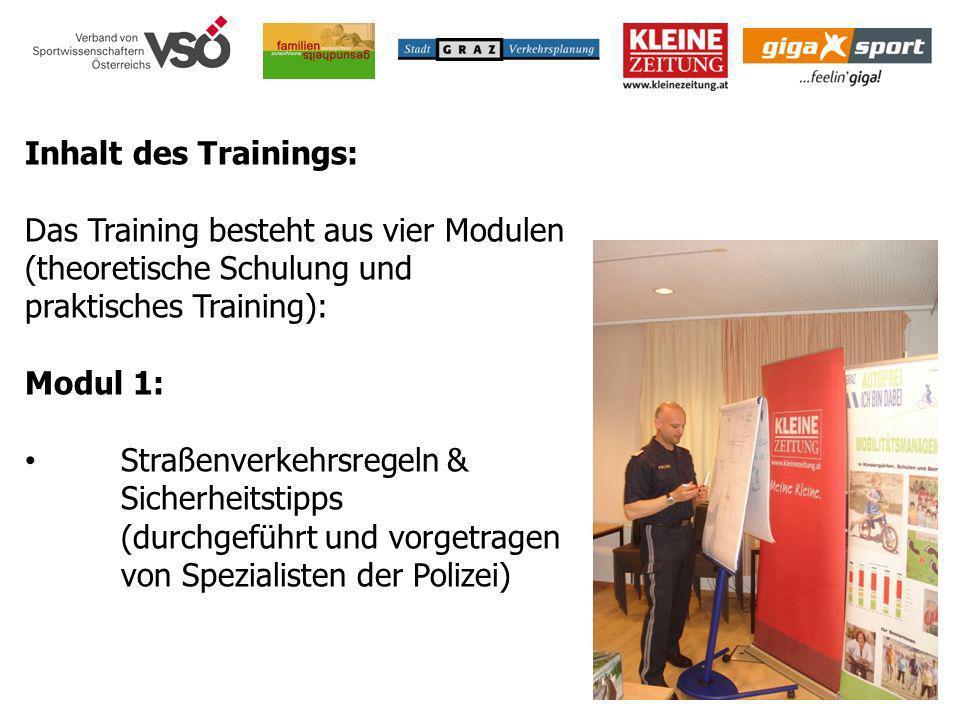 Inhalt des Trainings: Das Training besteht aus vier Modulen (theoretische Schulung und praktisches Training):