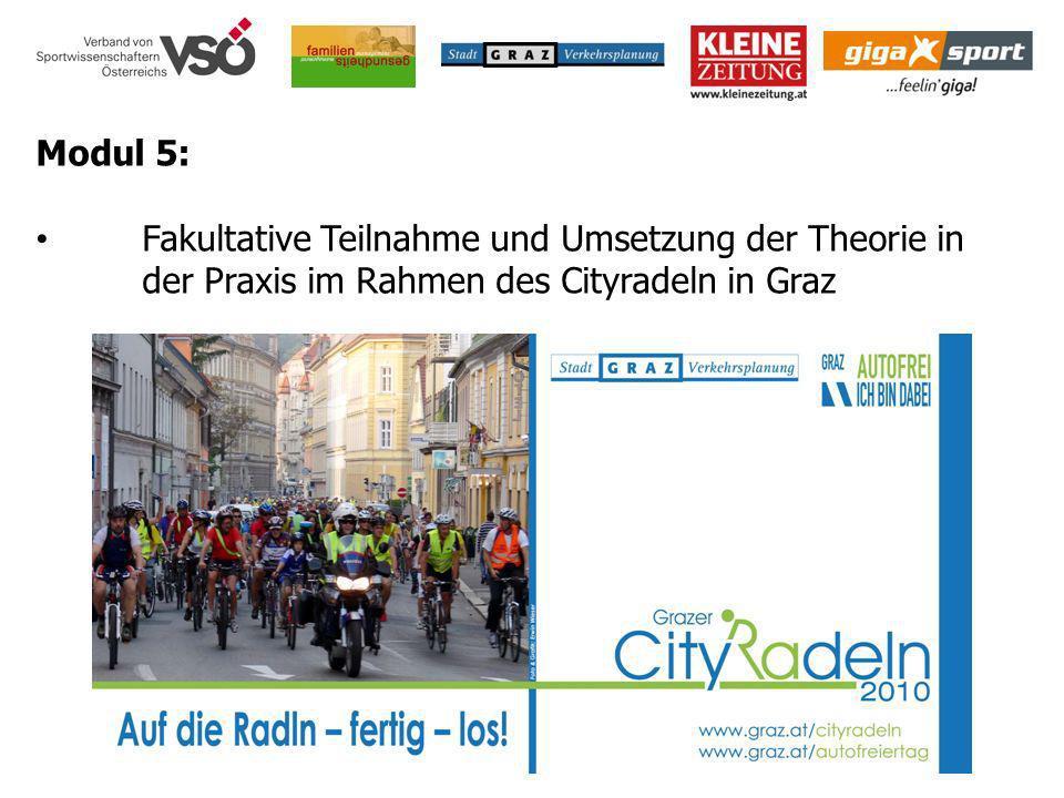 Modul 5: Fakultative Teilnahme und Umsetzung der Theorie in der Praxis im Rahmen des Cityradeln in Graz.