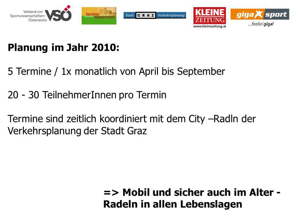 Planung im Jahr 2010: 5 Termine / 1x monatlich von April bis September. 20 - 30 TeilnehmerInnen pro Termin.