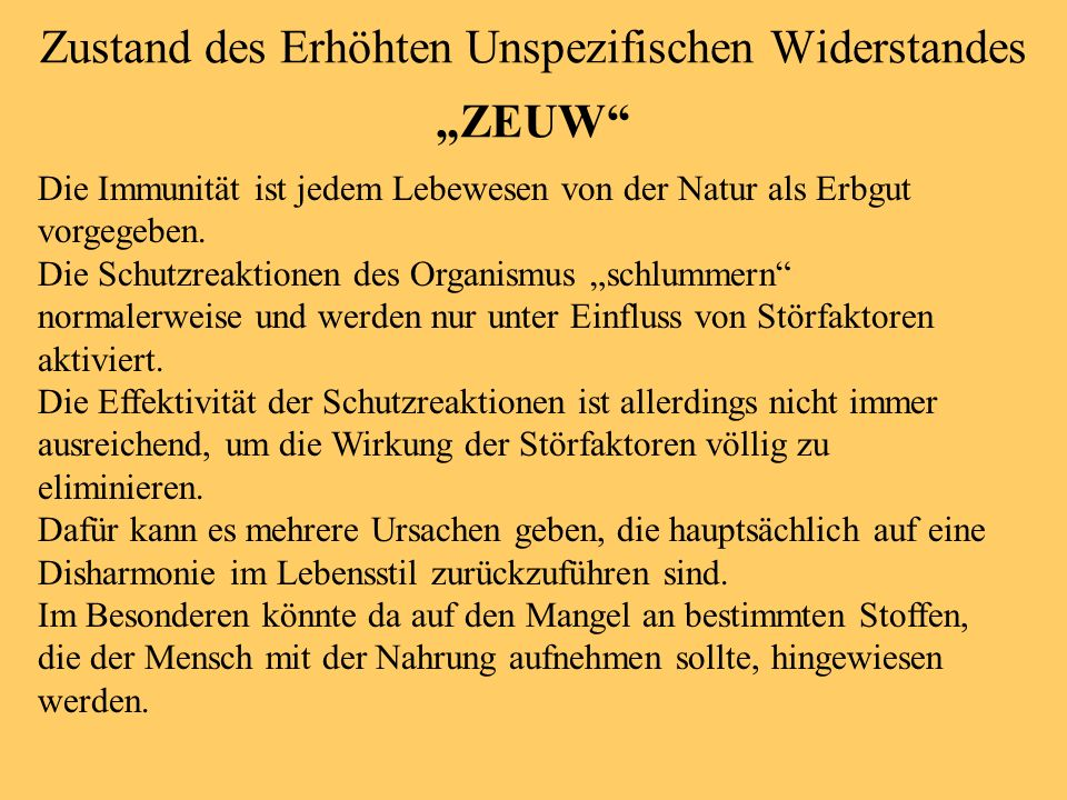 """Zustand des Erhöhten Unspezifischen Widerstandes """"ZEUW"""