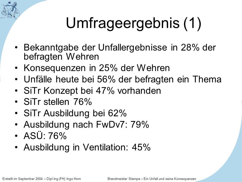 Umfrageergebnis (1) Bekanntgabe der Unfallergebnisse in 28% der befragten Wehren. Konsequenzen in 25% der Wehren.