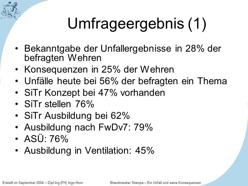 Umfrageergebnis (1)Bekanntgabe der Unfallergebnisse in 28% der befragten Wehren. Konsequenzen in 25% der Wehren.