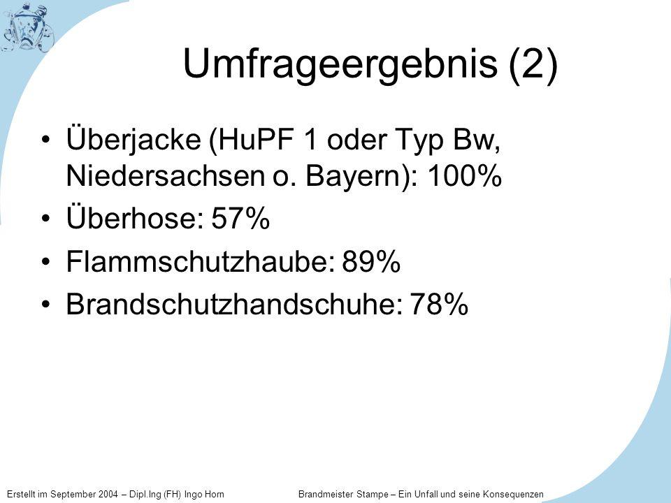 Umfrageergebnis (2) Überjacke (HuPF 1 oder Typ Bw, Niedersachsen o. Bayern): 100% Überhose: 57% Flammschutzhaube: 89%