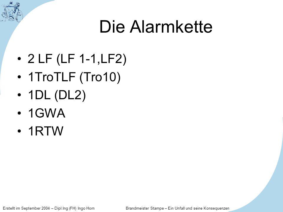 Die Alarmkette 2 LF (LF 1-1,LF2) 1TroTLF (Tro10) 1DL (DL2) 1GWA 1RTW
