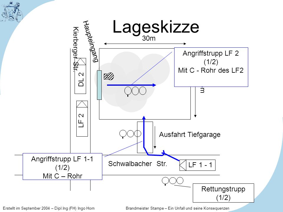 Lageskizze Haupteingang 30m Kierberger Str. Angriffstrupp LF 2 (1/2)