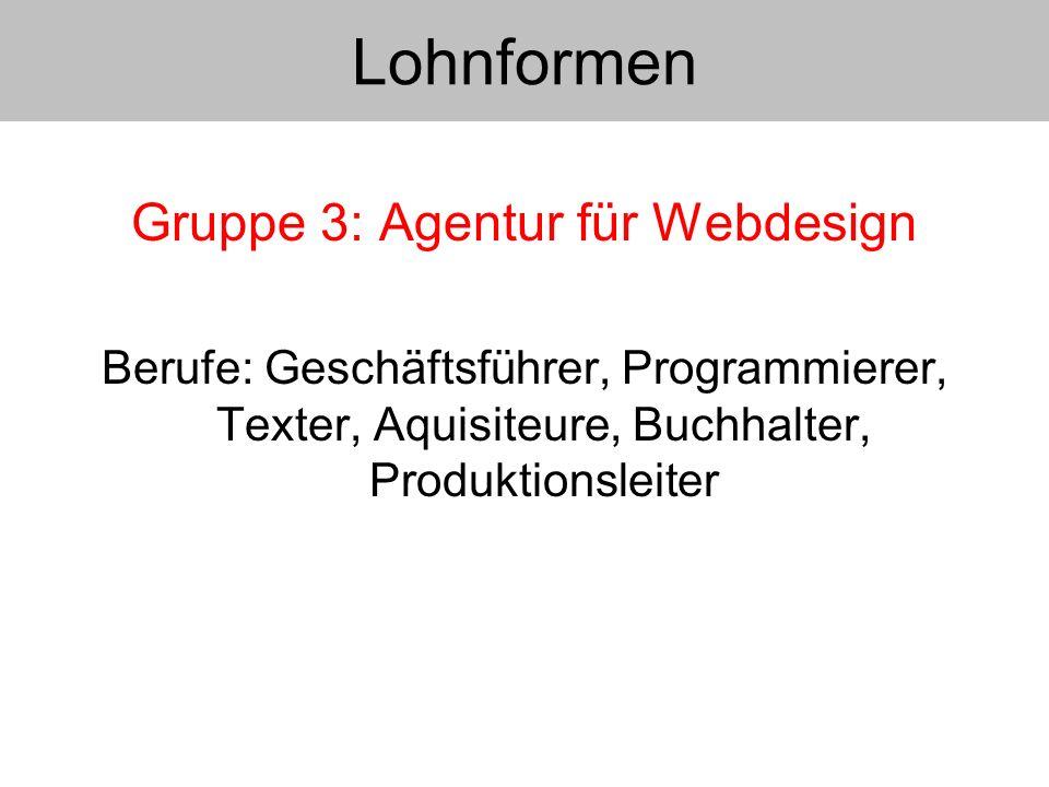 Gruppe 3: Agentur für Webdesign