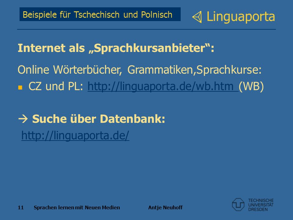"Linguaporta Internet als ""Sprachkursanbieter :"