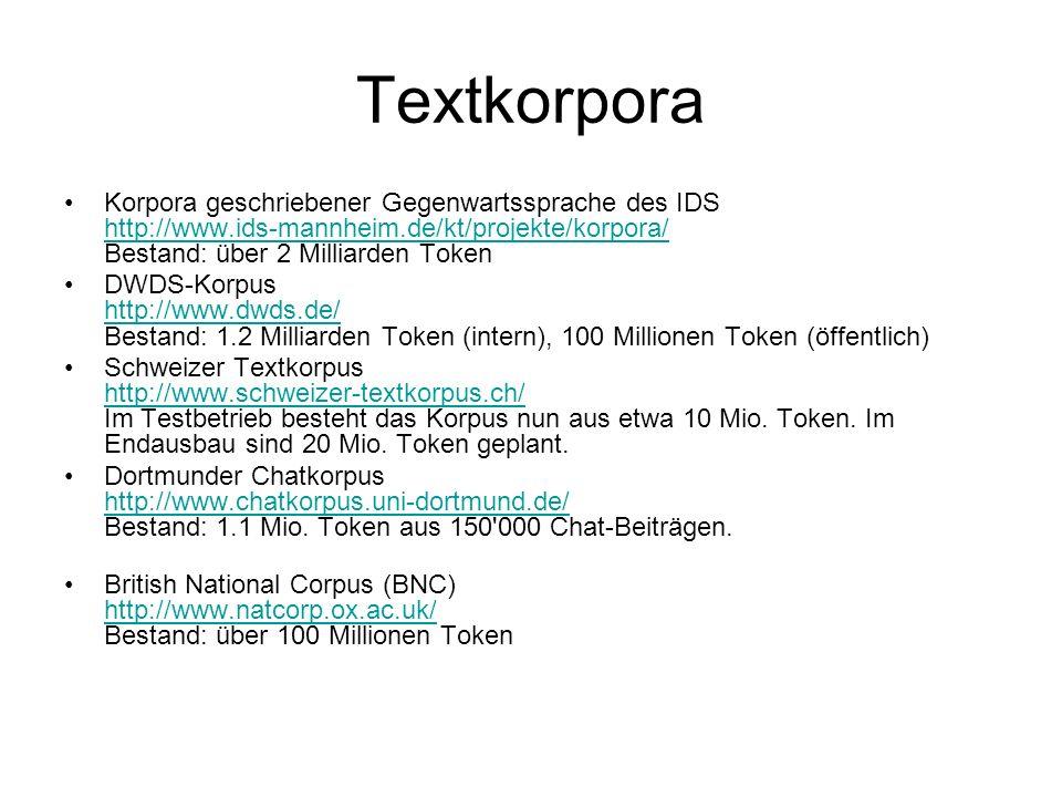 TextkorporaKorpora geschriebener Gegenwartssprache des IDS http://www.ids-mannheim.de/kt/projekte/korpora/ Bestand: über 2 Milliarden Token.