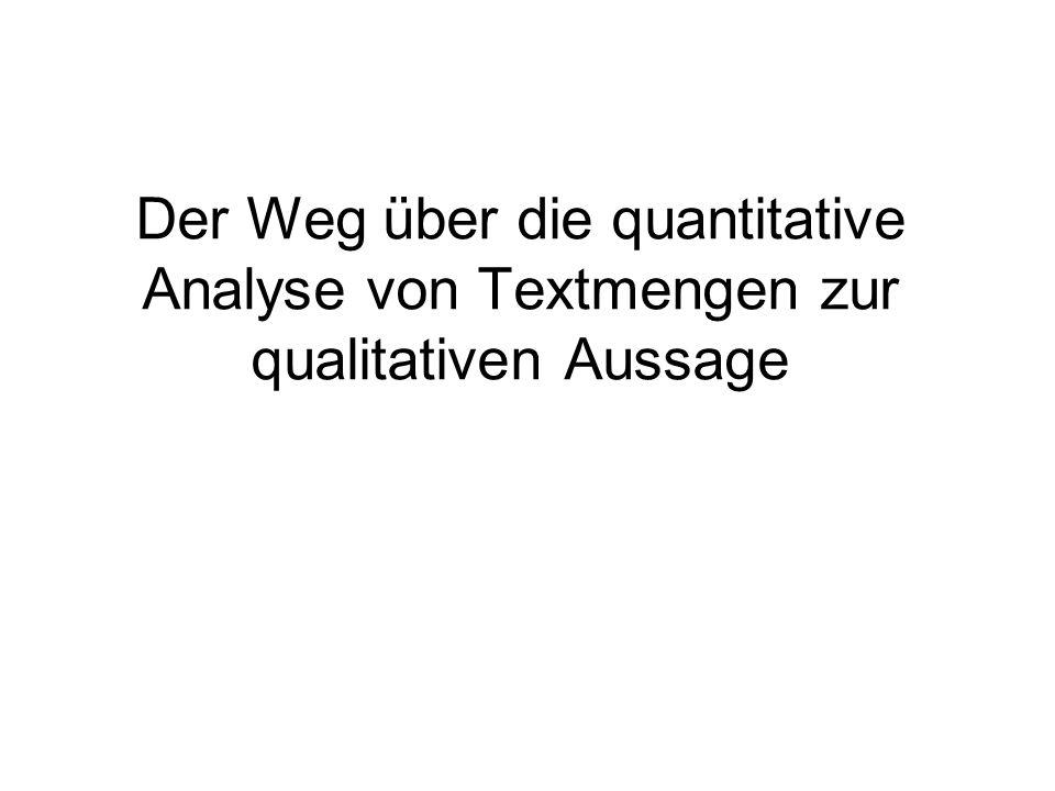 Der Weg über die quantitative Analyse von Textmengen zur qualitativen Aussage