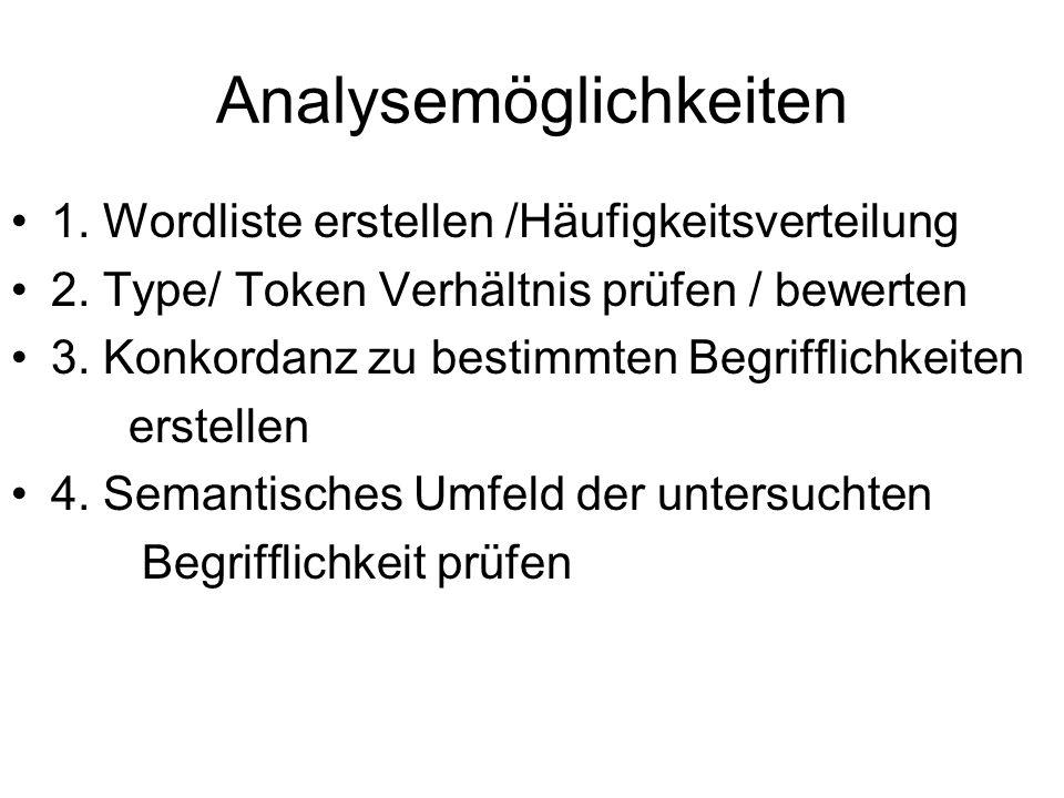 Analysemöglichkeiten