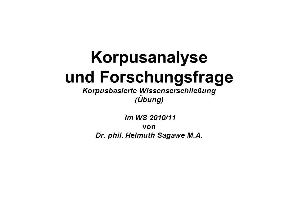 Korpusanalyse und Forschungsfrage Korpusbasierte Wissenserschließung (Übung) im WS 2010/11 von Dr.