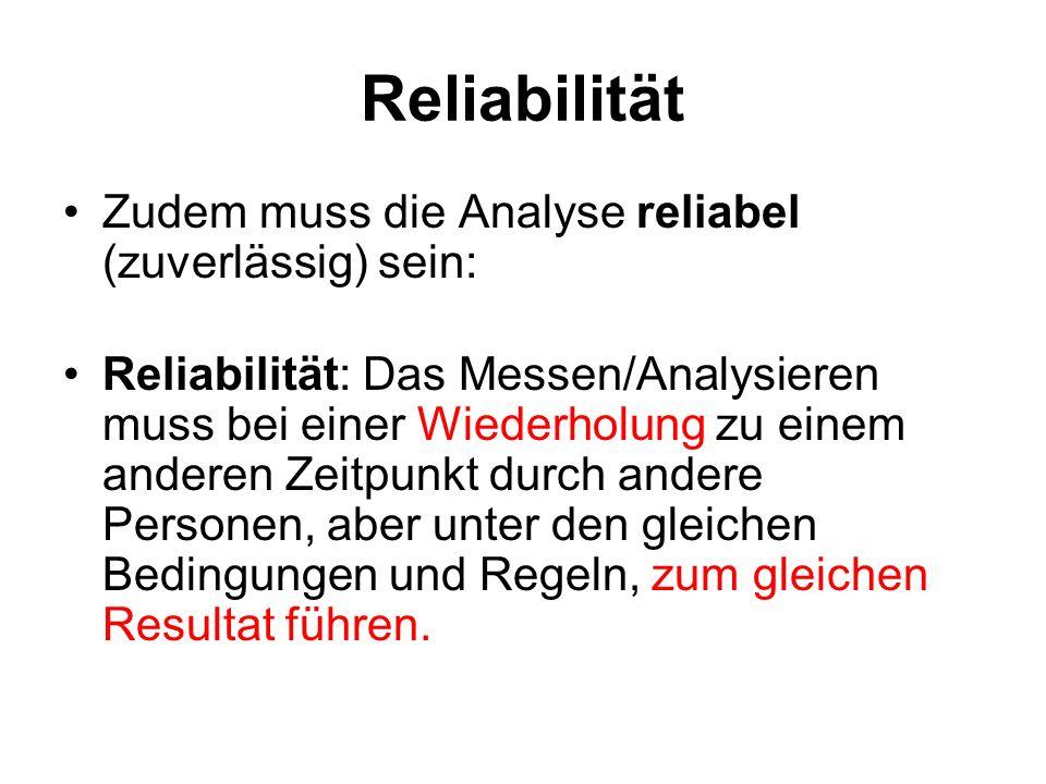 Reliabilität Zudem muss die Analyse reliabel (zuverlässig) sein: