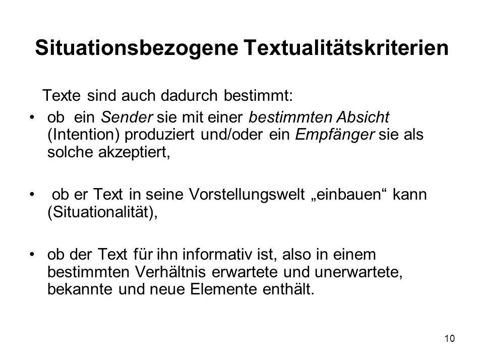 Situationsbezogene Textualitätskriterien