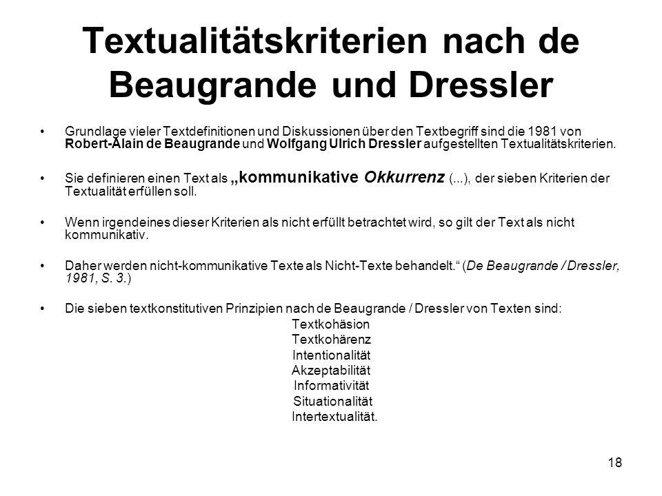 Textualitätskriterien nach de Beaugrande und Dressler