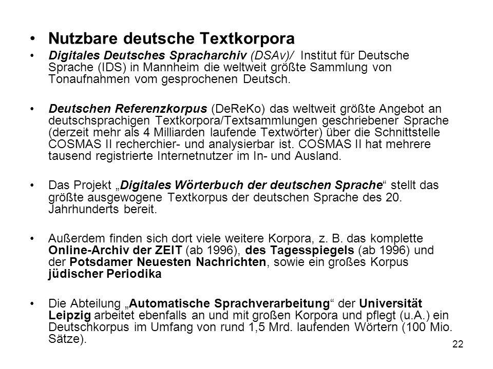 Nutzbare deutsche Textkorpora