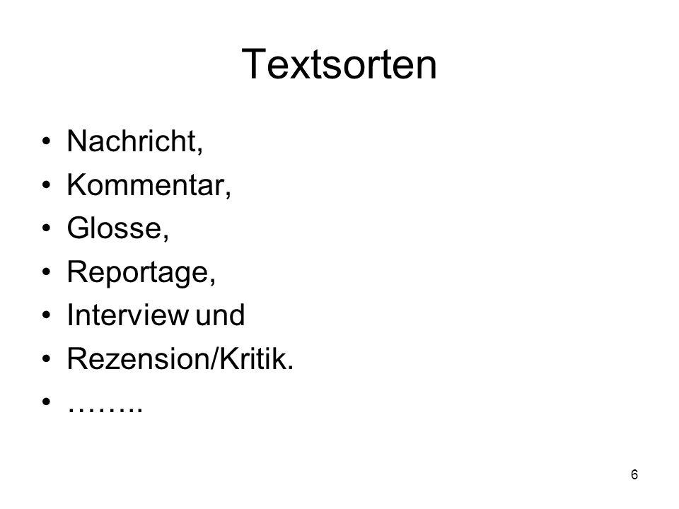 Textsorten Nachricht, Kommentar, Glosse, Reportage, Interview und