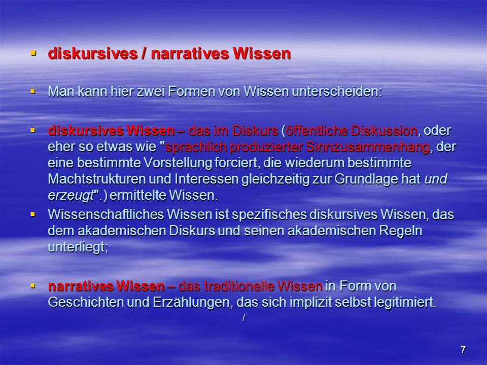 diskursives / narratives Wissen
