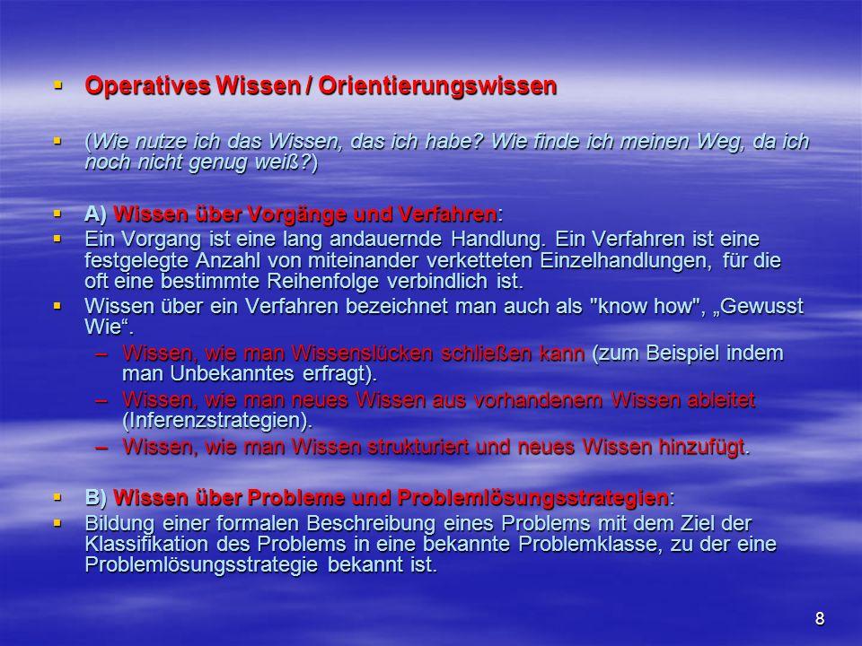 Operatives Wissen / Orientierungswissen