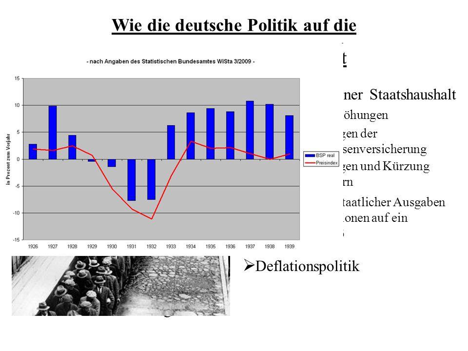 Wie die deutsche Politik auf die Weltwirtschaftskrise reagiert