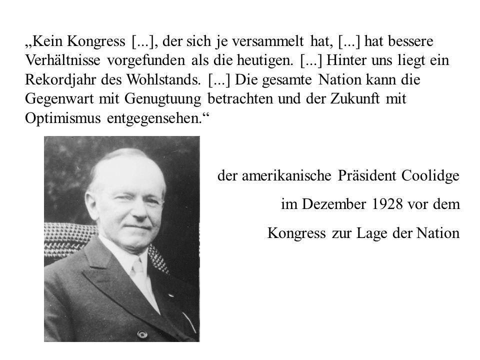 der amerikanische Präsident Coolidge im Dezember 1928 vor dem