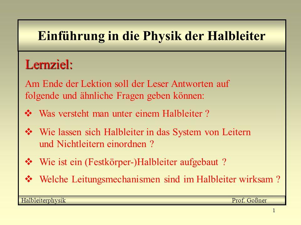 Einführung in die Physik der Halbleiter