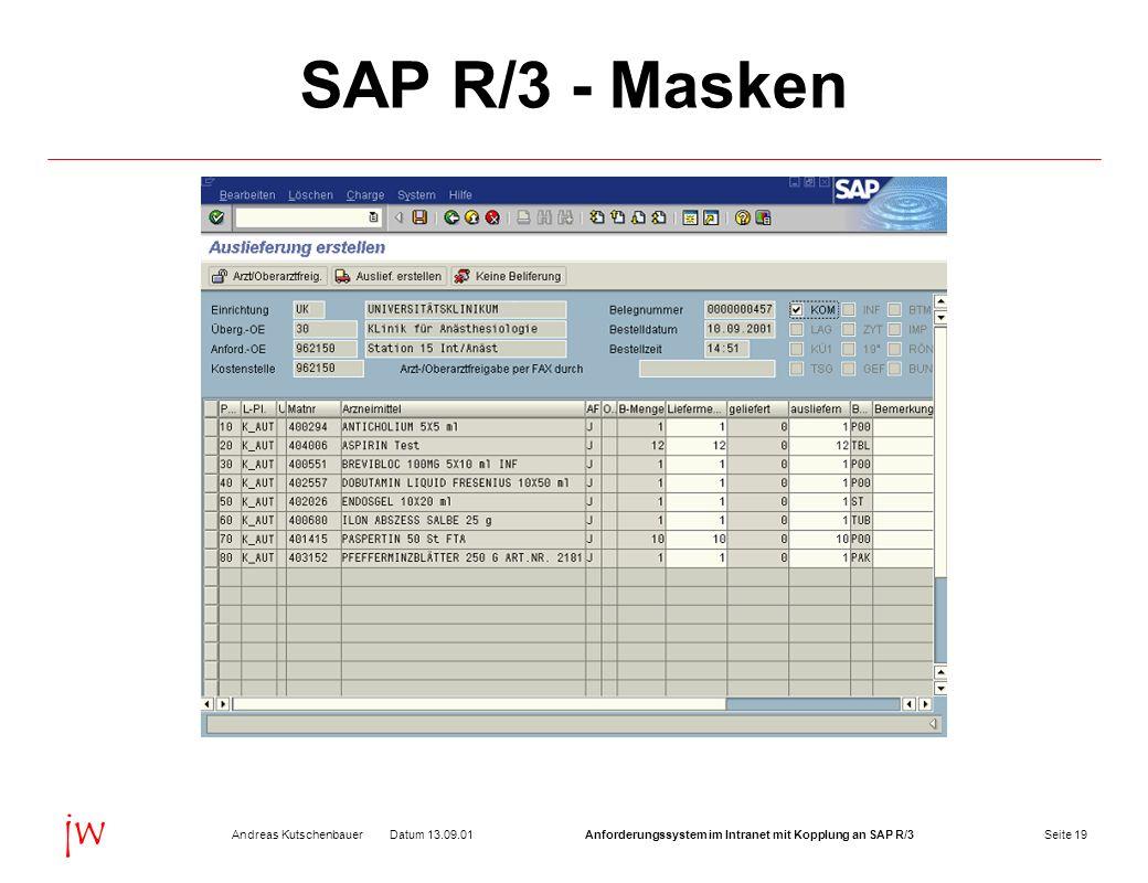 SAP R/3 - Masken