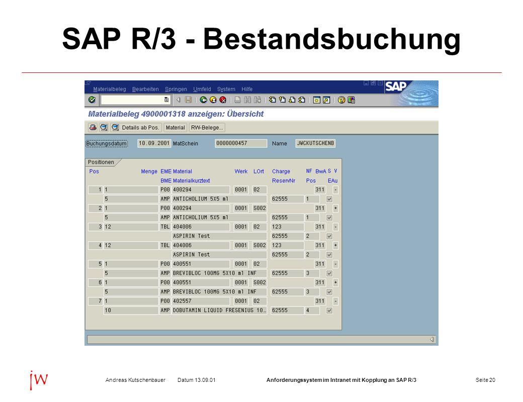 SAP R/3 - Bestandsbuchung