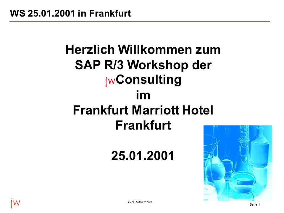 WS 25.01.2001 in Frankfurt Herzlich Willkommen zum SAP R/3 Workshop der jwConsulting im Frankfurt Marriott Hotel Frankfurt 25.01.2001.