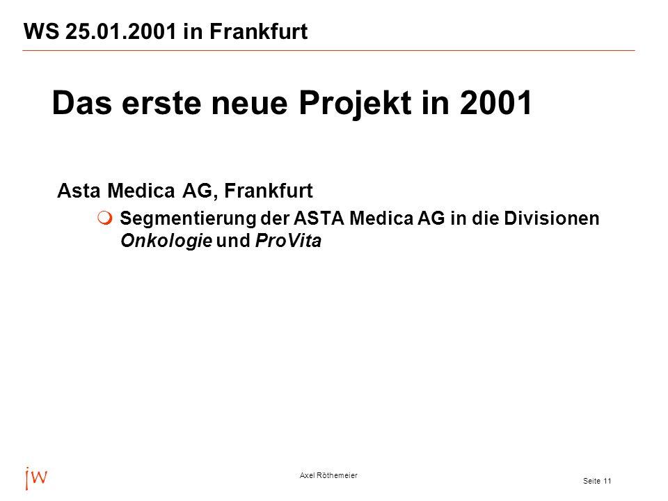 Das erste neue Projekt in 2001