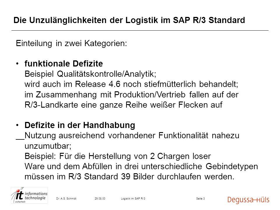 Die Unzulänglichkeiten der Logistik im SAP R/3 Standard