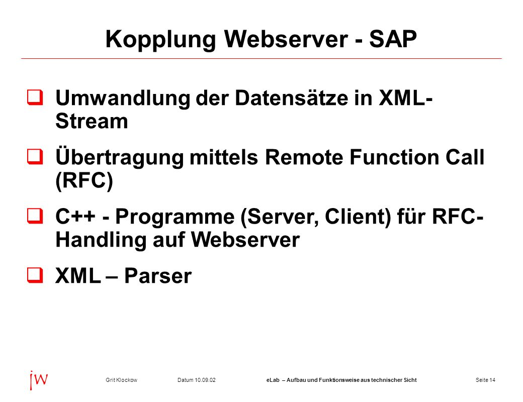 Kopplung Webserver - SAP