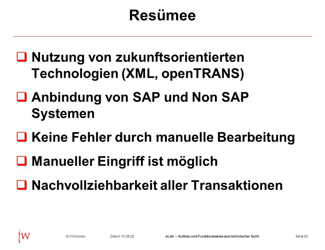 Resümee Nutzung von zukunftsorientierten Technologien (XML, openTRANS)