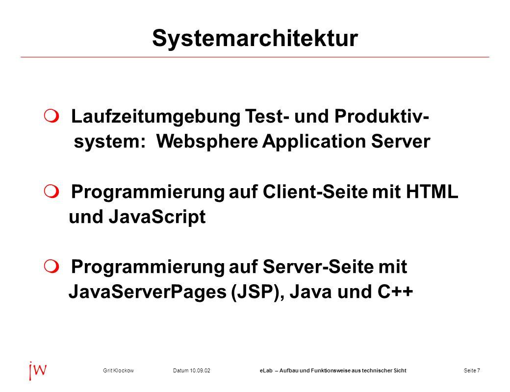 Systemarchitektur Laufzeitumgebung Test- und Produktiv-